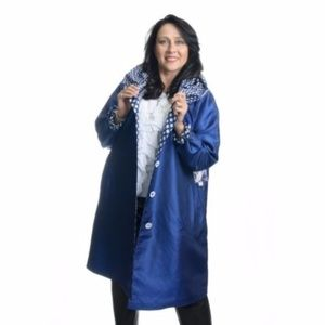 UBU Blue Reversible Raincoat - Solid to Polkadot
